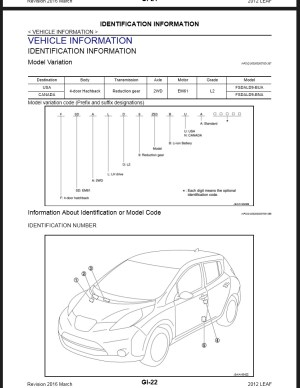 2012 Nissan Leaf ZE0 Service & Repair Manual & Wiring