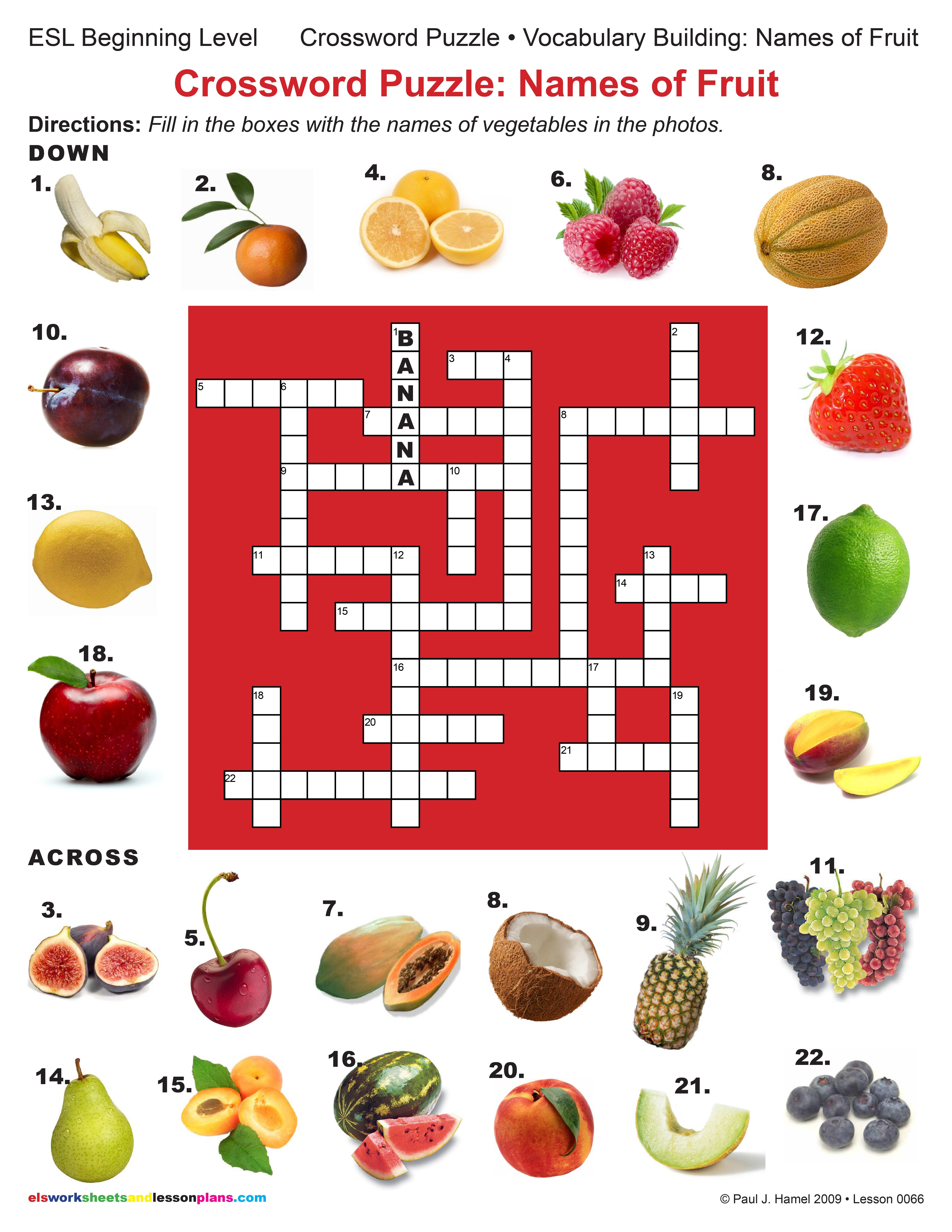 Esl Crossword Puzzle Names Of Fruit Item