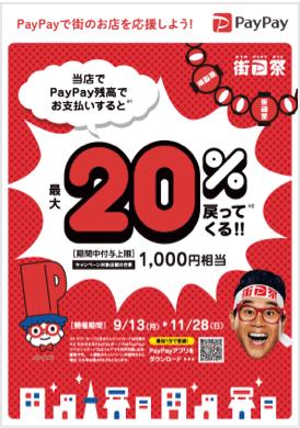 PayPay残高でのお支払いで最大20%* /最大1,000ポイント還元 9/13 – 11/28まで 全店で実施 2