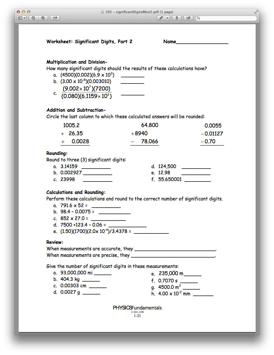 Significant Digits And Measurement Worksheet Answers