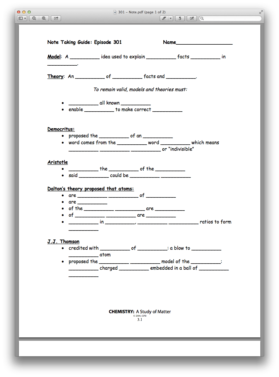 Development Of Atomic Theory Worksheet Answer Key