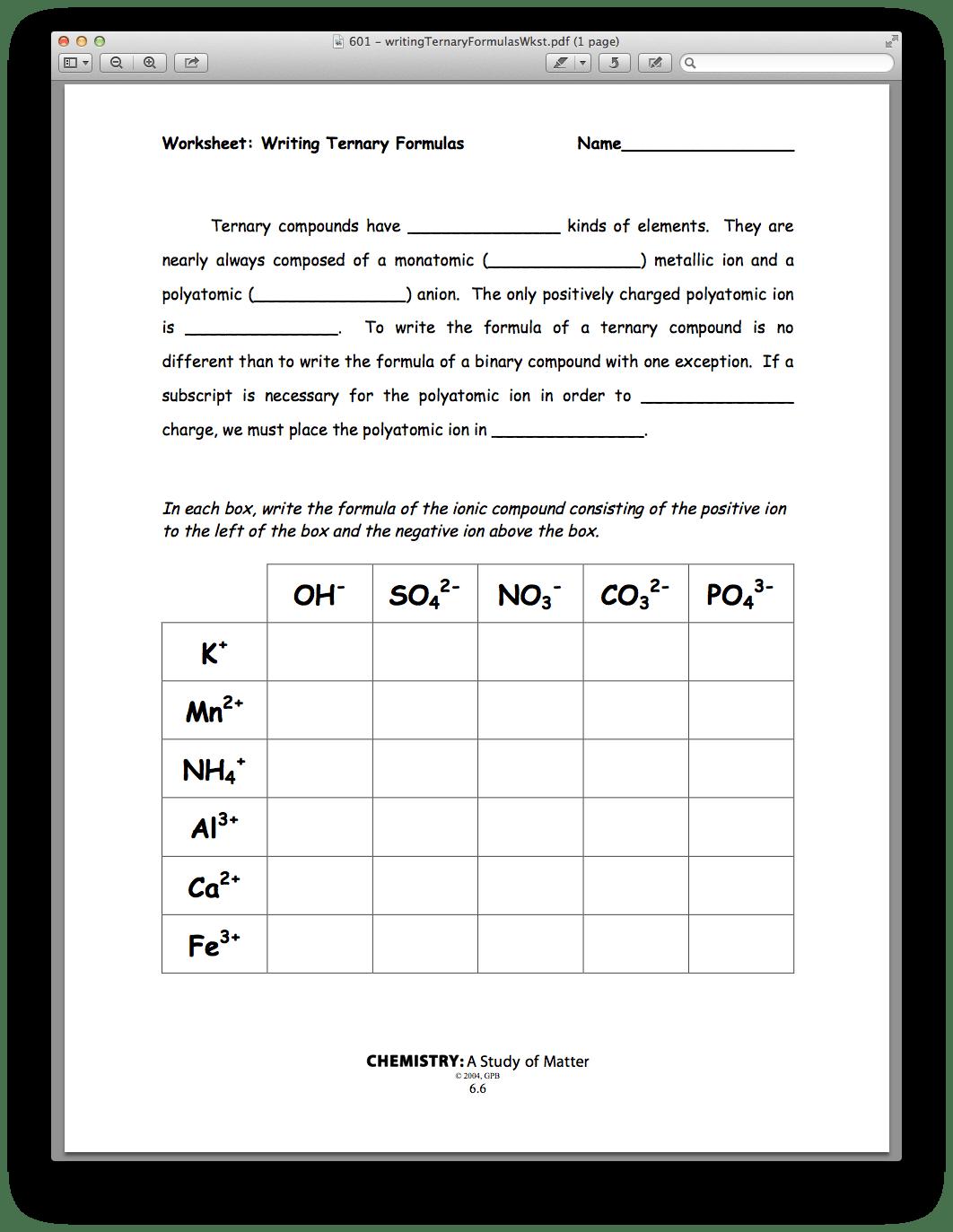Worksheet Writing Binary Formulas Answer Key