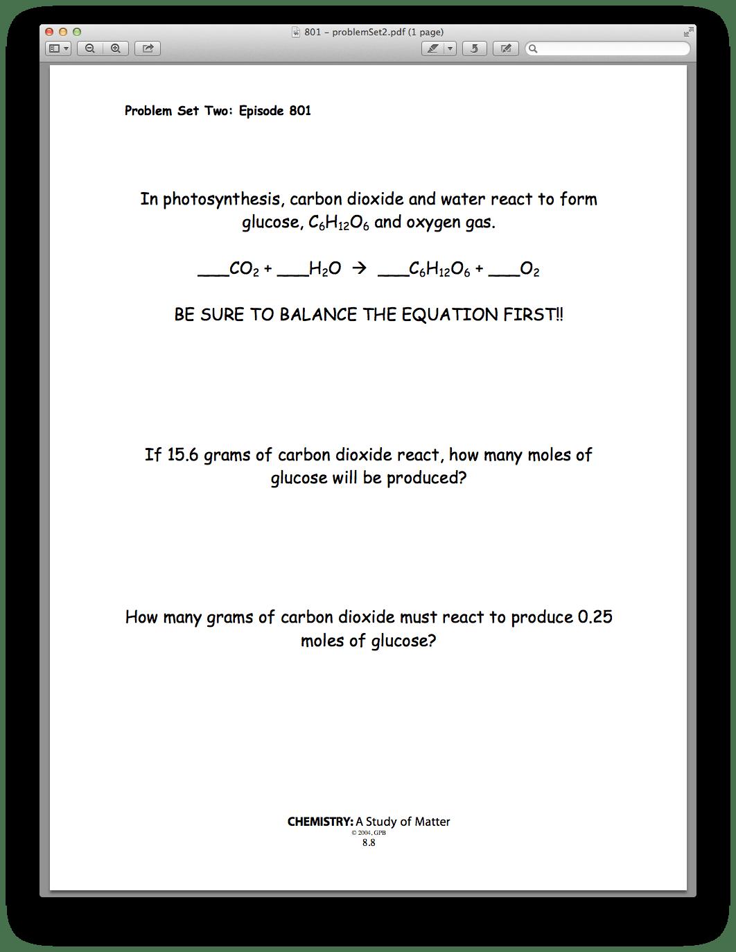 Worksheet Mass Mass Problems Chemistry A Study Of Matter