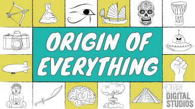 "Logo for the PBS Series Origin of Everything, various pictures of historical items in yellow and white surrounding a green box with the text ""Origin of Everything"""