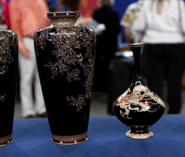 Appraisal Japanese Meiji Cloisonne Vases Ca