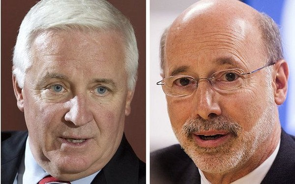 "Controversial changes to the parent reference on Pennsylvania birth certificates began under former Gov. Tom Corbett (left) when the reference was changed from ""mother"" to ""mother/parent"" and from father to ""father/parent."" Gov. Tom Wolf can take credit for making that reference gender-neutral to ""parent."""