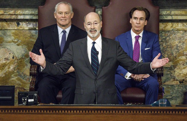 Gov. Tom Wolf delivers his proposed budget for the 2018-19 fiscal year to a joint session of the general assembly, February 6, 2018. At left is House Speaker Mike Turzai and at right is Lt. Gov. Mike Stack. Dan Gleiter | dgleiter@pennlive.com