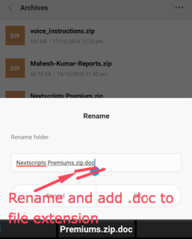 Add .doc to the file extension you want to send