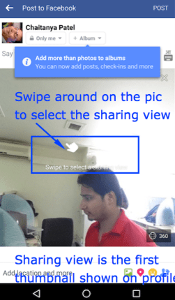 Swipe to Select First screen 360 Facebook
