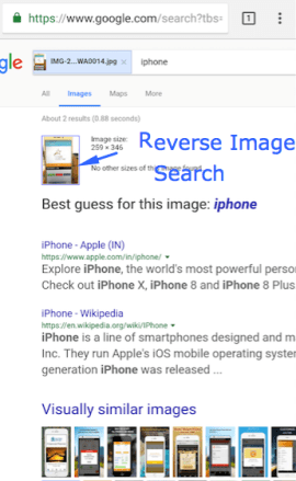 Successful Google Reverse Image Search on Mobile Android & iPhone