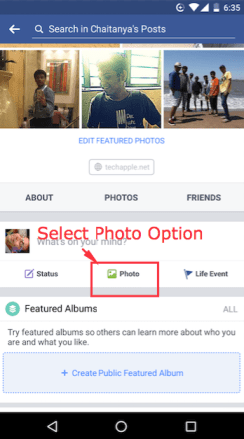 Select Photo Option in the Facebook App