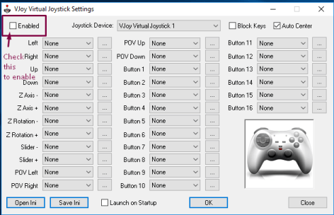 Check the enabled option to start virtutal Joystick
