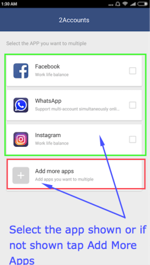 How to use Multiple accounts using 2 Accounts app in Android