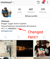 Font style on Instagram! - Changed font on bio