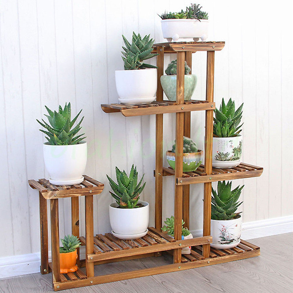 Heavy Duty Wood 5Tier Plant Stand Shelf Indoor/Outdoor ... on House Plant Stand Ideas  id=87912