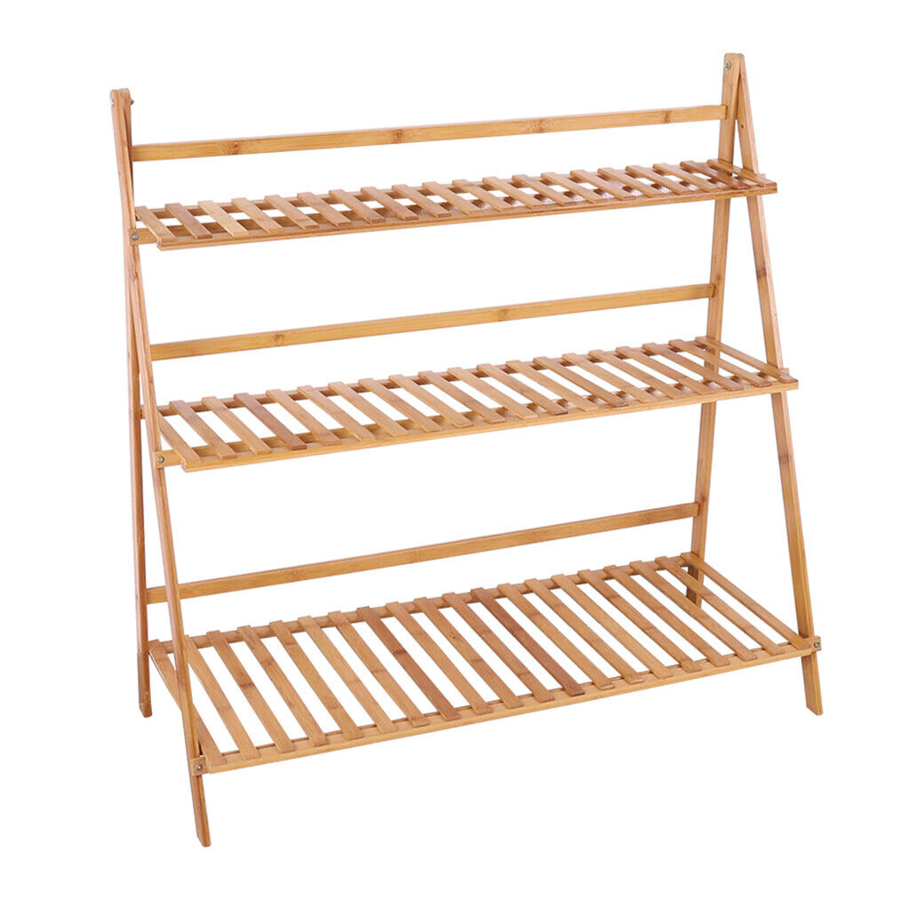 Garden Yard Bamboo Plant Stand Folding 3 Tier Hanging ... on Hanging Plants Stand Design  id=92153