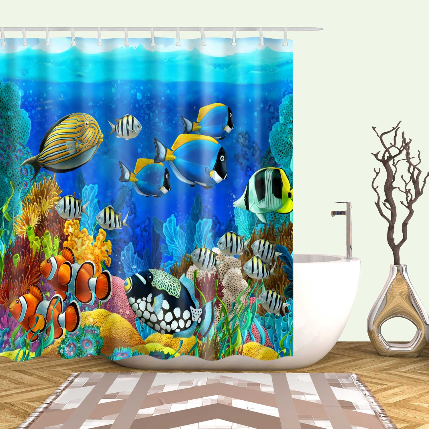 ocean coral island view with fish