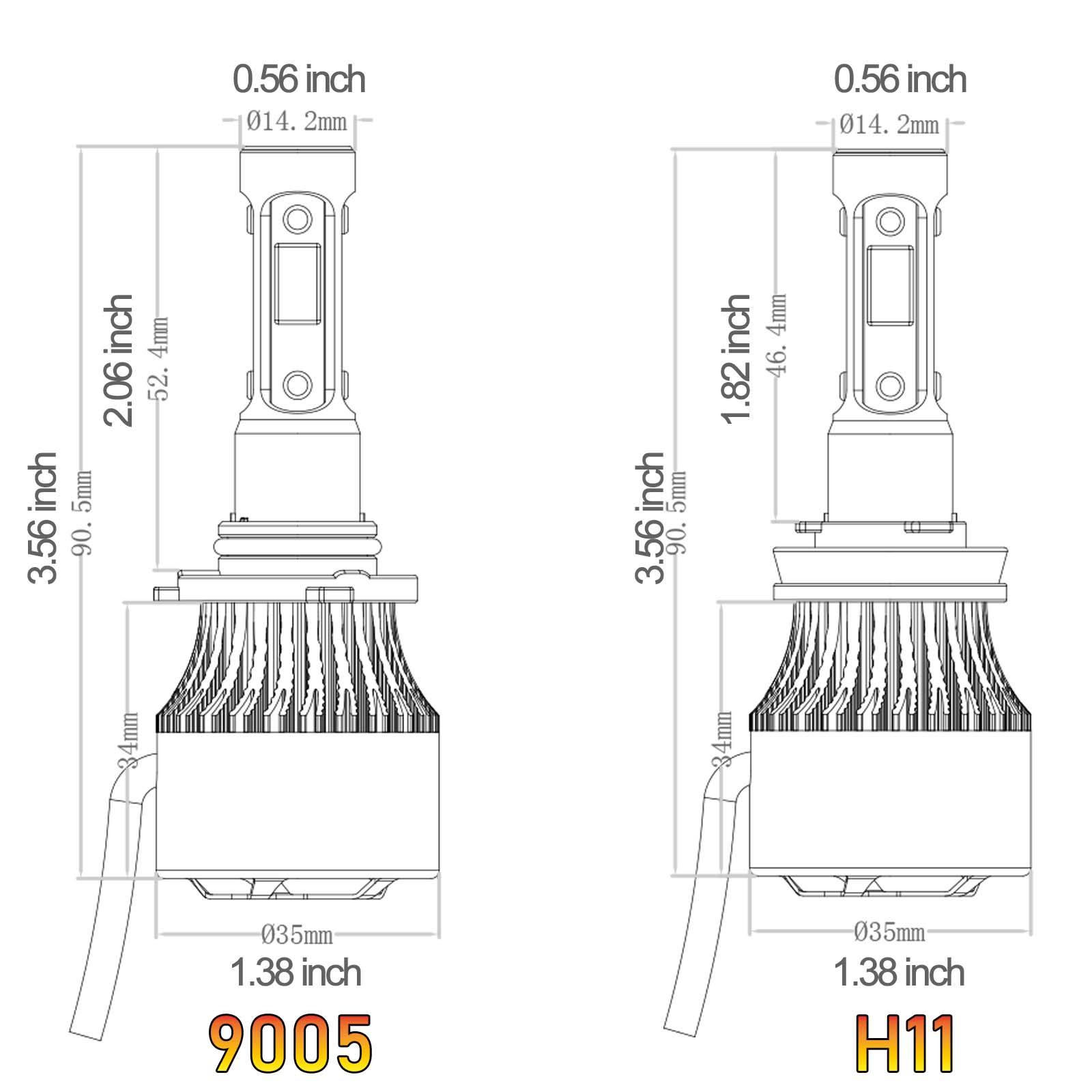 New 4 Side Led Hi Lo Beam Headlights H11 Hb3 For