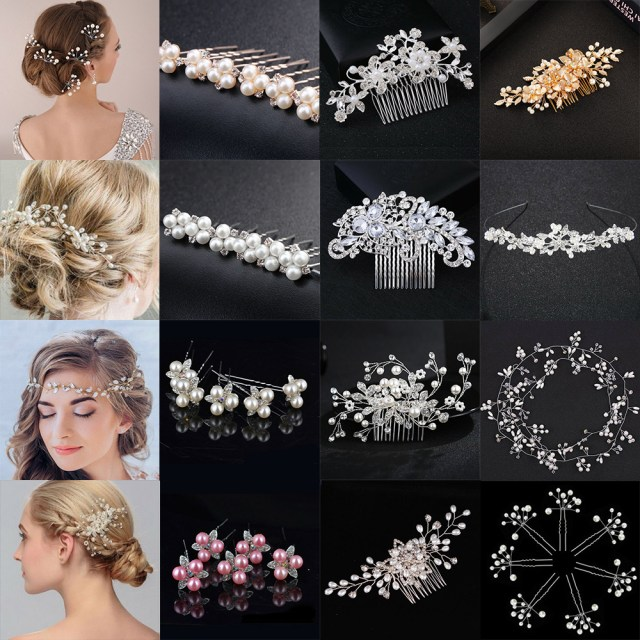 details about uk flower wedding prom hair pins comb bridal clips crystal pearl diamante silver