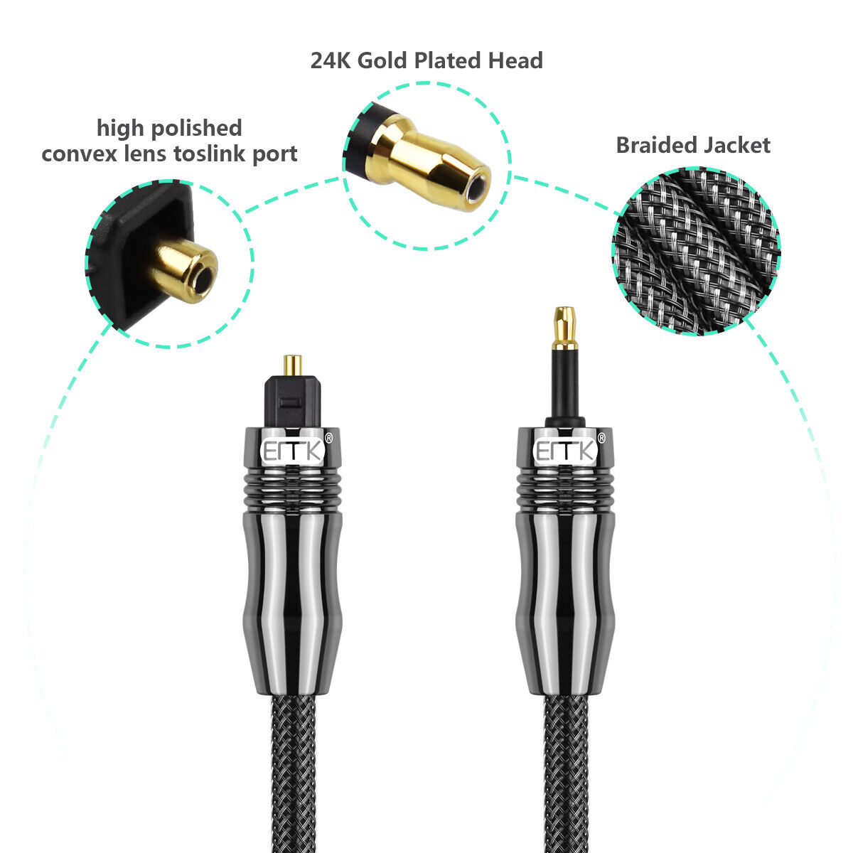 Emk 5 1 Digital Optical Cable Mini 3 5mm To Toslink Fiber