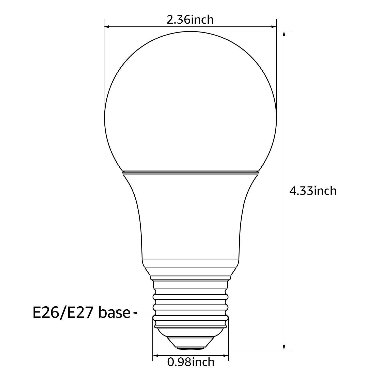 Ul Listed 9w A19 Led Light Bulb E26 E27 Base 820lm