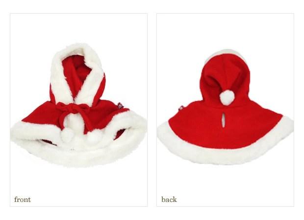【ドッグウェア】ふわふわの縁取りが可愛い♪サンタクロース ケープ☆ クリスマスコスプレ【ゆうパケット対応】