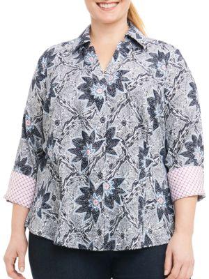 Plus Taylor Printed Collared Shirt