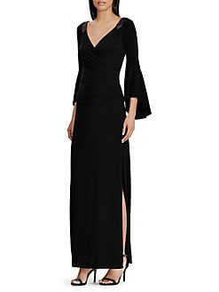 Designer Dresses For Women   Lord   Taylor Jersey Bell Sleeve Gown BLACK  Product image