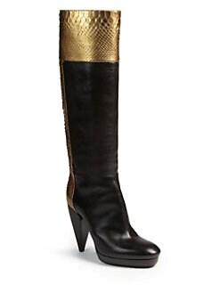 Lanvin - Metallic Python & Leather Knee-High Boots