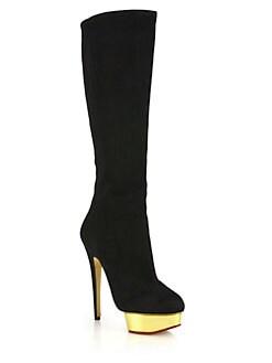 Charlotte Olympia - Bonnie Suede Metallic Platform Knee Boots