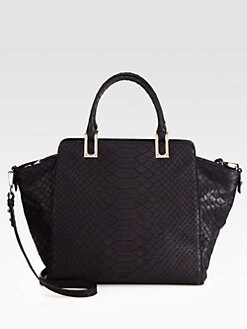 MILLY - Reece Python-Embossed Leather Tote