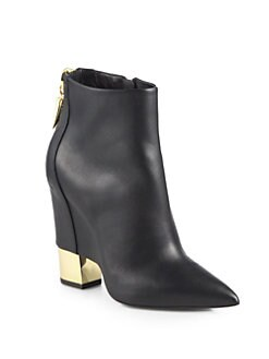 Giuseppe Zanotti - Leather Cutout Wedge Ankle Boots