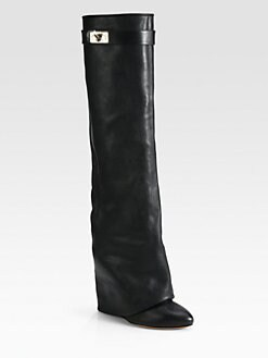 Givenchy - Leather Knee-High Sheath Boots