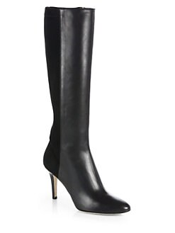 Jimmy Choo - Adele Leather & Stretch-Suede Boots