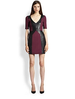 Rebecca Minkoff - Harriet Shadow Leather-Panel Dress
