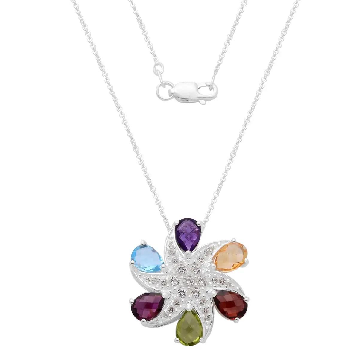 Chain Rainbow Pendant Necklace 925 Silver Garnet Rhodolite