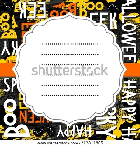 happy halloween white black yellow orange letters and black cats autumn holiday colorful seamless pattern on dark background with blank white retro frame on orange ribbon seasonal card invitation stock images