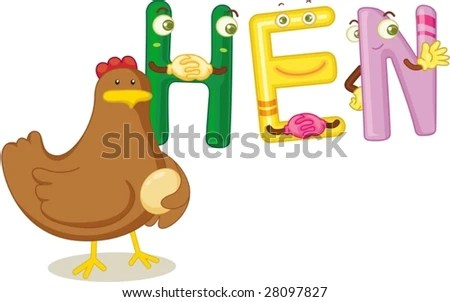 stock vector : an illustration of the word hen with a hen