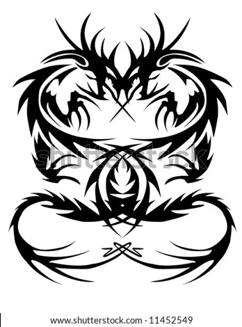 stock vector : A vector of a tribal dragon tattoo