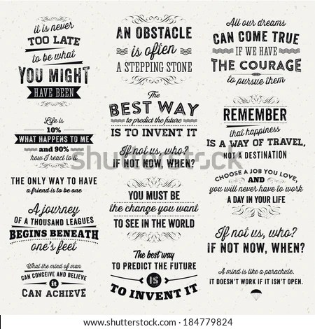 Set of Quotes Typographical Posters, Vector Design. Motivational Quotes for Inspirational Art. - stock vector