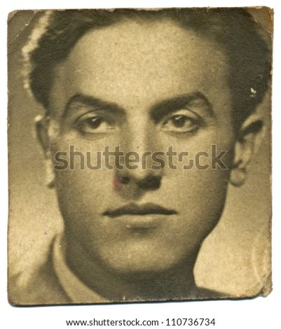 stock photo : Central Bulgaria, BULGARIA, CIRCA 1945 - young man portrait - circa 1945