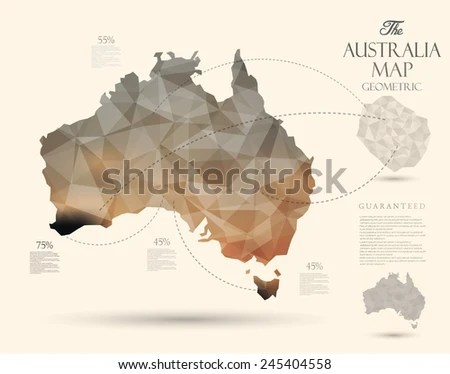 Australia Map Vector   Download Free Vector Art  Stock Graphics   Images Geometric map elements continents 3d geometric Australia