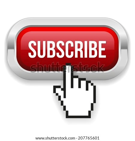 Red Rounded Subscribe Button With Metallic Border On White ...