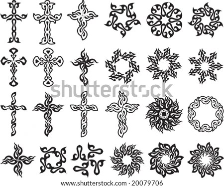 stock vector : Vector Tribal tattoo set Cross, Sun, Flame Designs