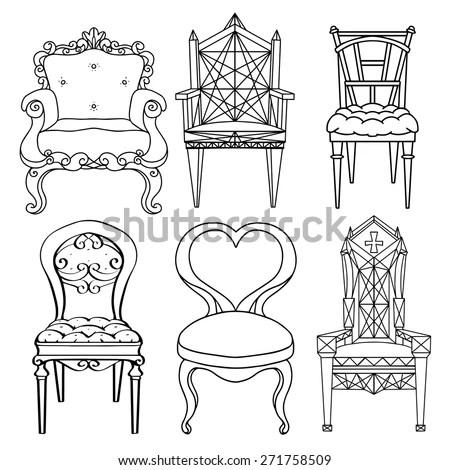Furniture Hand Drawn Set Vintage Chair Armchair Throne