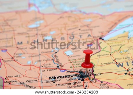 Free photos Map with pin point of Minneapolis in Minnesota  USA     St Paul pinned on a map of USA  243234208