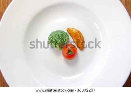 stock photo : Small portion of food on a big plate