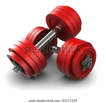 stock photo : 3d illustration of two red dumbbells over white background