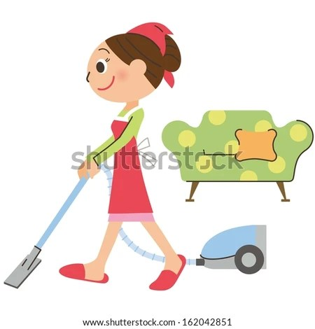The mom who cleans it with vacuum cleaner - stock vector