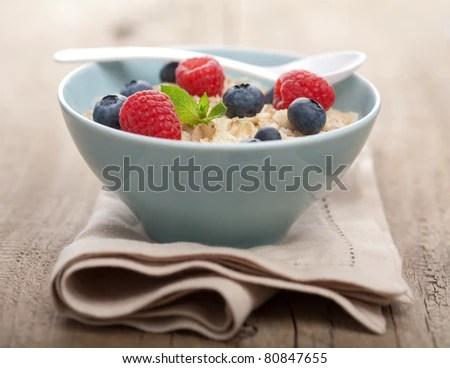 stock photo : porridge with fresh berries